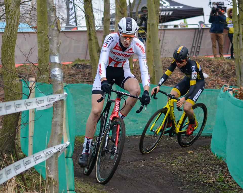 Ben Turner leading Tom Pidcock at the National Championships. Photo: Sue Thackray